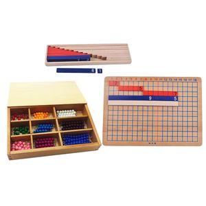 Montessori Mathe 1-10 Perlen Bar mit Subtraktion Board Holzbrett Spielzeug für Kinder