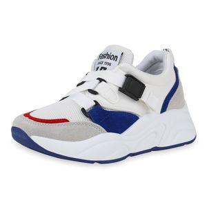 Mytrendshoe Damen Plateau Sneaker Keilabsatz Schuhe Turnschuhe Prints 830969, Farbe: Weiß Hellgrau Blau, Größe: 37