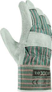 teXXor Universalhandschuhe Rindkernspaltleder-Handschuhe TAUNUS 1102 Mehrfarbig Leder natur/Drell grün-rot XL/10