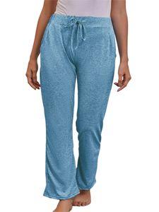 Damen Schnelltrocknende Yoga-Hose mit weitem Bein Fitness-Sporthose,Farbe: Hellblau,Größe:XL