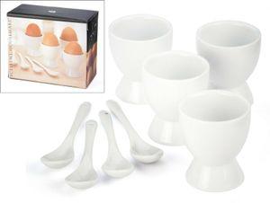 GKA 8 er Set Keramik Eierbecher mit Löffel weiß glasiert Frühstücksei Ei Eier Becher