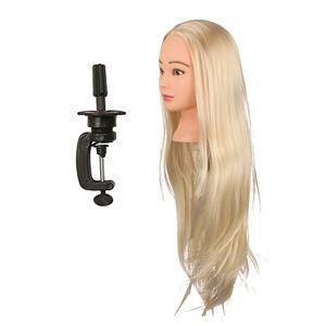 Hochwertig Übungskopf Haar Trainingskopf Frisurenkopf Make-up Kopf Mannequin Kopf mit Halter Größe 26in Blond