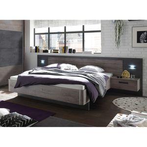 22-510-N9 PALMA Havel Eiche Nb. / Betonoxid grau Bett Doppelbett Ehebett Bettanlage inkl. 2 Nachtkommode ca. 180 x 200 cm Liegefläche