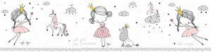 Lovely Kids selbstklebende Kinderzimmer Bordüre Magic Princess rosa grau weiß 5,00 m x 0,155 m