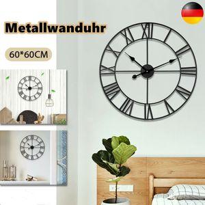 Große runde Wanduhr im Vintage-Stil, Metall, leise, nicht tickende Wanduhr, batteriebetrieben, 60 cm, schwarze römische Ziffern, Uhren für Wohnzimmer, Schlafzimmer, Küchendekor