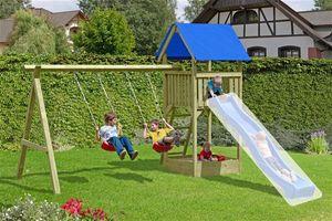 Spielanlage / Spielturm mit Doppelschaukel Junior 410x190x296 cm