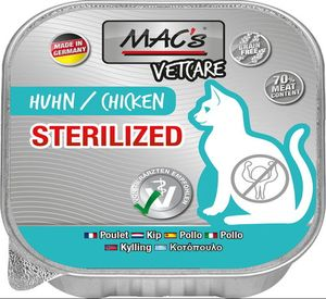 16x100g MAC's Cat Vetcare Huhn für Sterilisierte Katzen