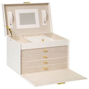 Schmuckkasten mit Schubladen und Spiegel, weiß