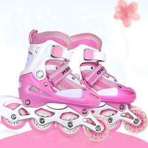 WYCTIN Kinder Rollschuhe verstellbar Größe M (35-38) Roller Skates Rosa
