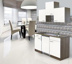 respekta Küche Miniküche Küchenzeile Single Küchenblock 150 cm Eiche York weiß