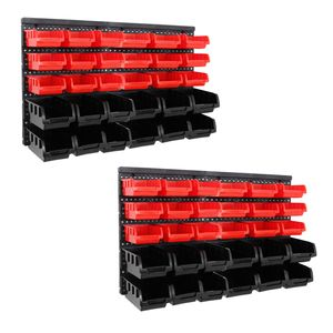 64tlg Stapelboxen Wandregal Set | Werkstatt Lager Schraubenbox | Werkstattregal Lagerregal | Box Sortimentskasten Regal | Regalsystem Steckregal