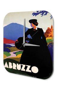Wanduhr Stadt Deko Abruzzo Frau Hutschachtel Schloss Berge Acryl Dekouhr Vintage Retro