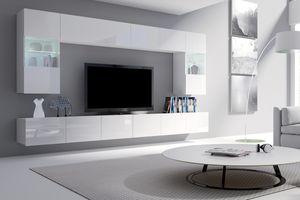 Selsey - Wohnwand / Wohnzimmer Set KIRDON groß mit 2 x TV-Hängeboard, 2 x Hängevitrinen und 2 x Hängeboards (Weiß matt / Weiß Hochglanz mit LED in Blau)