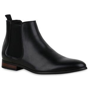 Mytrendshoe Herren Stiefel Chelsea Boots Klassische Schuhe 835125, Farbe: Schwarz, Größe: 42