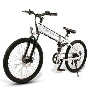 "SAMEBIKE LO26 26"" Elektrofahrrad E-Bike Mountainbike Citybike Faltbar, 500W 48V 10.4AH, Shimano-21-Gang, 3 Modi, 30 km/h, Reichweite 70 km, LCD-Display, bis 150 kg, Weiß"