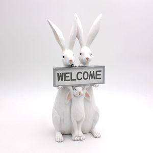 Dekofigur Hasenfamilie Welcome Ostern Osterdeko Eingang Weiß Shabby Chic 35cm