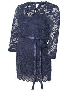 Damen Shirt Umstandstop Elegant Spitze Muster Mamalicious MLMIVANA 3/4 WOVEN TOP, Farben:Navy, Größe:M