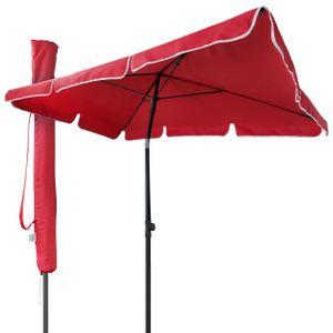 VOUNOT Sonnenschirm für Balkon, 200 × 125 cm, Knickbarer Balkonschirm Rechteckig, Rot