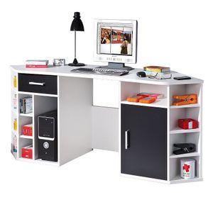 Schreibtisch Computertisch Eckschreibtisch Homeoffice Büro Fabri MDF weiß schwarz