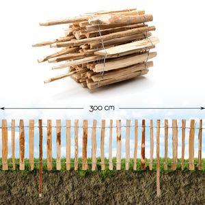 Roll-Steckzaun Haselnuss · 35 x 300 cm ( Lattenabstand 7-9 cm ) · Staketenzaun als Beeteinfassung zur Einzäunung und Abgrenzung