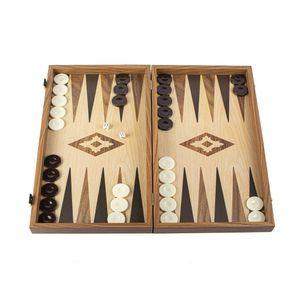 Backgammon-Set mit Eichen- und Walnussholzdruck - Luxus - 30x17 cm  Spitzenqualität