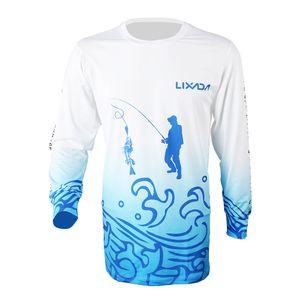 Lixada Long Sleeve Fishing Shirt Schnell trocknend atmungsaktiv Angeln Kleidung fuer Maenner