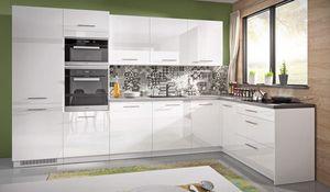 Küchenzeile 330x163cm weiß / weiß Acryl Hochglanz Küchenblock Modern Küche Komplett