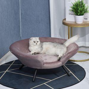 PawHut Hundesofa in Beckenform mit Weichem Bezug, Haustiersofa mit Metallbeinen, Hundebett, Katzensofa, 74 x 68,5 x 31 cm