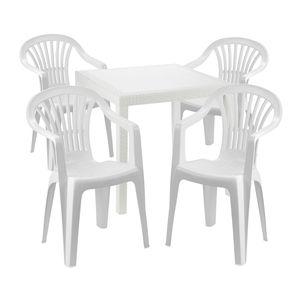 Sitzgarnitur Bistrogarnitur 5-teilig Kunststoff Weiß