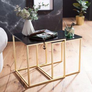 WOHNLING Satztisch CHUR Schwarz / Gold Beistelltisch MDF / Metall | Couchtisch Set aus 2 Tischen | Kleiner Wohnzimmertisch | Metalltisch mit Holzplatte | Ablagetisch modern