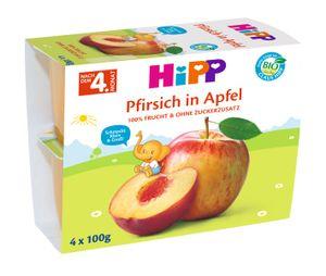 HiPP Früchte im Becher Pfirsich in Apfel, 4x100g