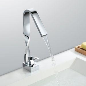 Design-Waschtischarmatur Wasserfall Mischbatterie Wasserhahn Bad Badarmatur Waschbeckenarmatur Chrom Einhebelmischer Badezimmer, Desfau