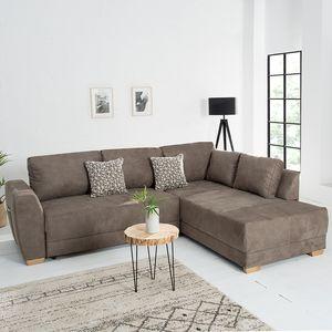 Moderne Wohnlandschaft NORWAY taupe Schlafsofa inkl. Kissen Schlafcouch Sofa