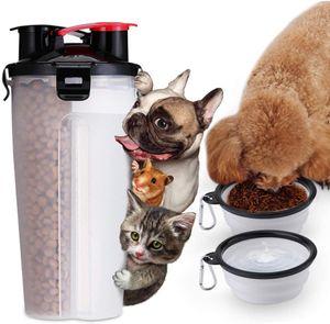 2 in 1 Hunde-Wasserflasche Tragbare Pet Food Container Flasche mit 2 zusammenklappbaren Schalen für Outdoor Walking Wandern