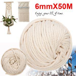 6mm*50m Baumwolle Schnur Seil Faden Garn Häkeln Makramee Baumwollschnur Rolle DE