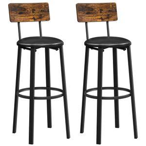 VASAGLE Barhocker, 2er Set, Barstühle, 39 x 39 x 100 cm, mit Fußstütze, PolyurethanBezug, einfacher Aufbau vintagebraun-schwarz LBC069B81