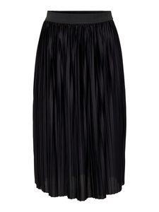JDY Damen Plissee Rock Jersey Midi Skirt Langer Faltenrock Strech Bund, Farben:Schwarz, Größe:36