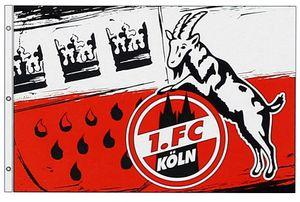 """1. FC Köln Hissfahne Fahne  """"Wappen"""" 180x120 cm (quer)"""
