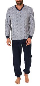 Herren Frottee Pyjama Schlafanzug lang mit Bündchen im edlen Minimalprint - 65399, Farbe:grau, Größe:58