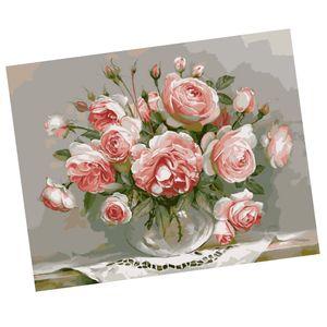 Rahmenloses DIY Malerei , Malen nach Zahlen , Leinwand Wand Bild , Romantisch Rosen Blumen 40 * 50cm