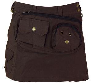 Goa Shorts, Kurzer Hosenrock, Side Bag-Gürteltaschen Rock - Coffee/türkis, Damen, Braun, Baumwolle, Größe: S