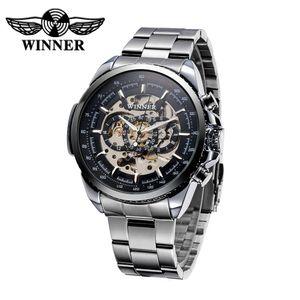 WINNER Ausgehoehlte halbautomatische Watch mechanische Uhr Hochwertige Business Style Uhr Luxus Handaufzug Man Armbanduhr