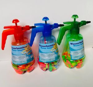 Wasserbomben-Füllflasche incl. 100 Ballons, Wasserballonpumpe, 1 Stück, farblich sortiert – keine Farbauswahl möglich