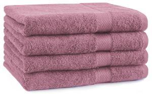 Betz 4 Stück Handtücher PREMIUM 100%Baumwolle Handtuch Set Farbe - altrosa