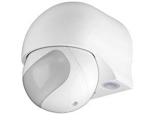 Goobay ODA Infrarot Bewegungsmelder Aussen – Aufputz - Dreh/Neigbar - Reichweite 12m - 180 Grad  Erfassungsbereich - Spritzwasser geschützt - 230 V - Weiß