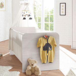 Babybett im Landhaus Design LUND-78 in Pinie weiß Nb., B/H/T: ca. 144/80/82 cm
