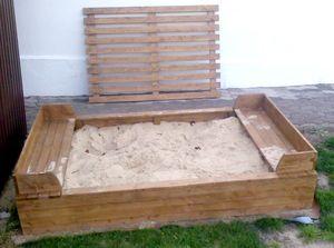 Sandkasten mit Abdeckung Sandkasten nordische Fichte Buddelkiste Kindersandkasten - (3023)