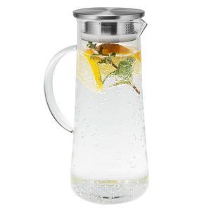 bremermann Glaskaraffe MAJA, Wasserkrug mit Edelstahldeckel und integriertem Sieb, matt ca. 1,5 Liter