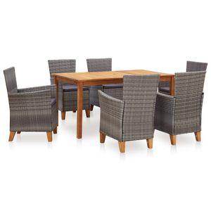 Huicheng Poly Rattan 7-tlg. Garten Essgruppe Sitzgruppe Esstischgruppe mit 6 Rattansessel + Holztisch Massivholz Akazie Tisch Grau
