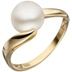 JOBO Damen Ring 52mm 585 Gold Gelbgold 1 Süßwasser Perle Perlenring Goldring